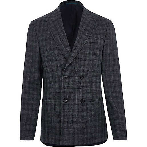 Grey shadow check double breasted suit jacket