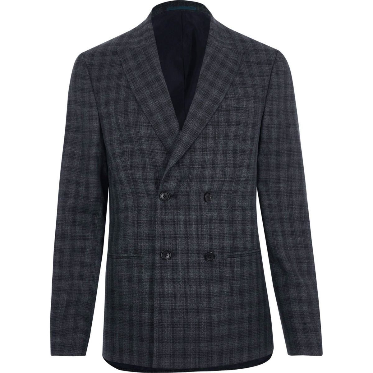 Grey shadow check double breasted suit jacket - Suit Jackets ...