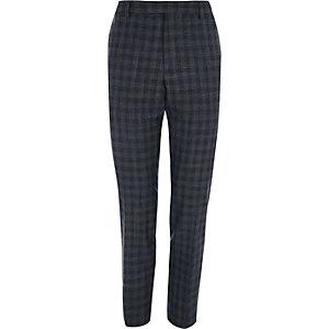 Pantalon de costume skinny à carreaux gris effet ombré