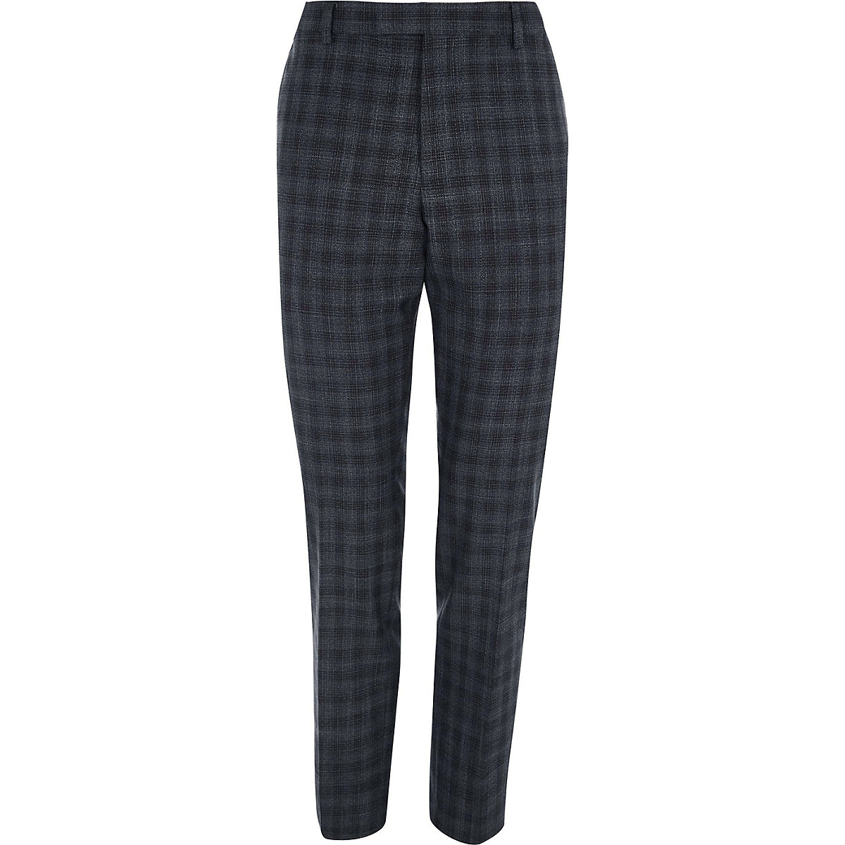 Grey shadow check skinny fit suit trousers