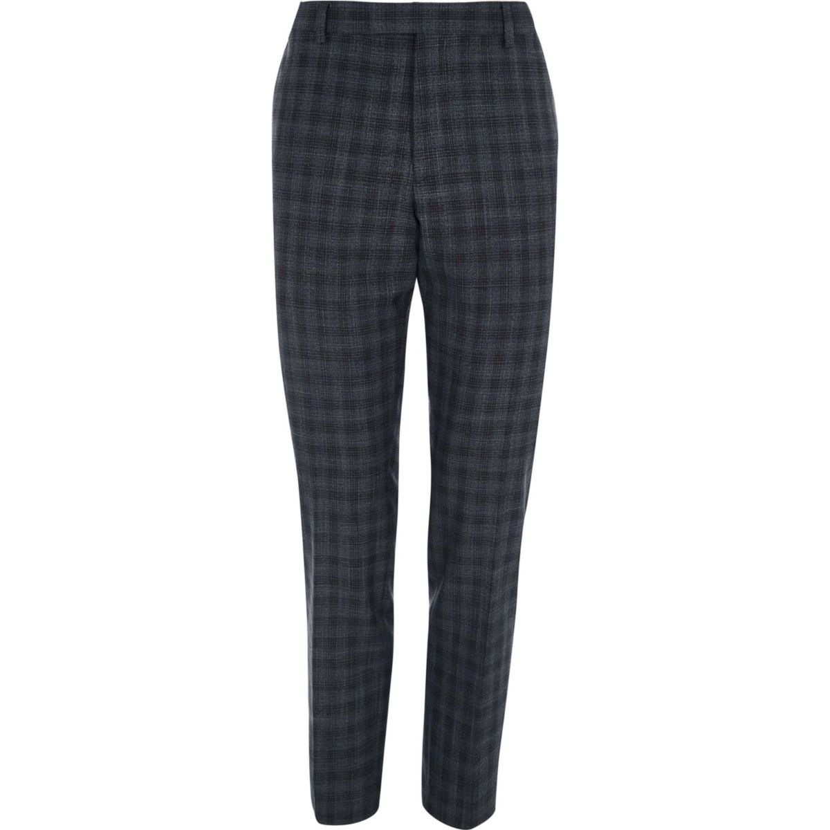 Grey shadow check skinny fit suit pants