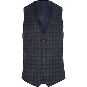 Grey shadow check suit vest