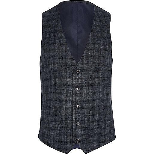 Grey shadow check suit waistcoat