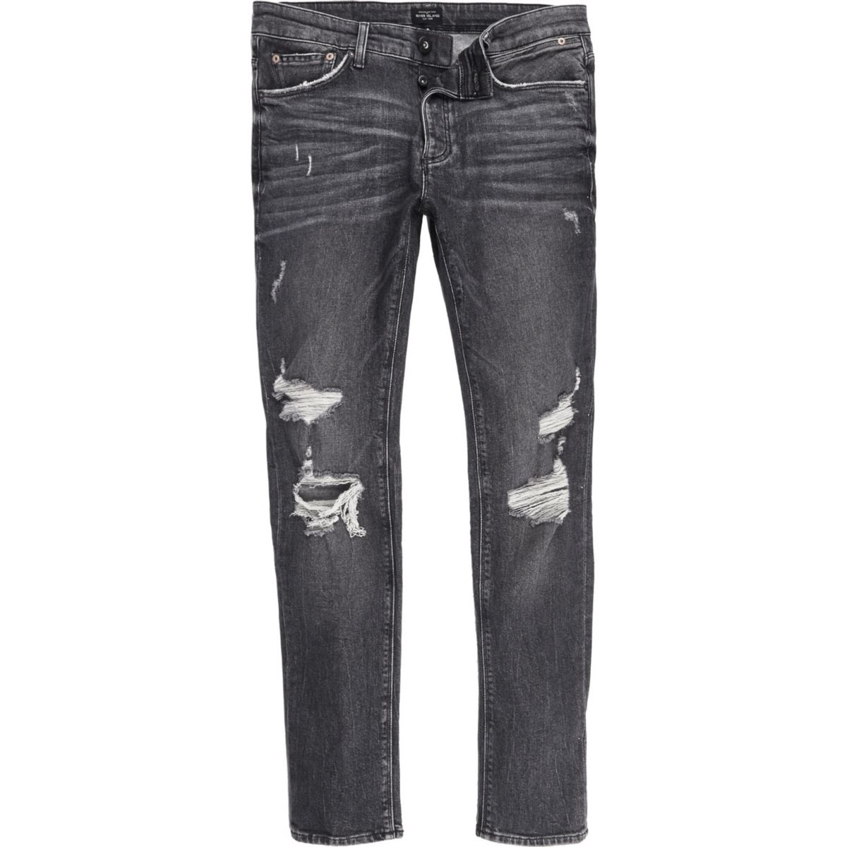 Black ripped Sid skinny jeans