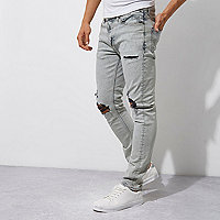 Grey wash contrast ripped Sid skinny jeans