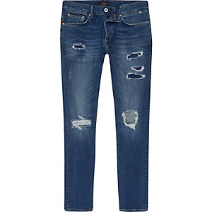 Mid blue wash ripped Sid skinny jeans