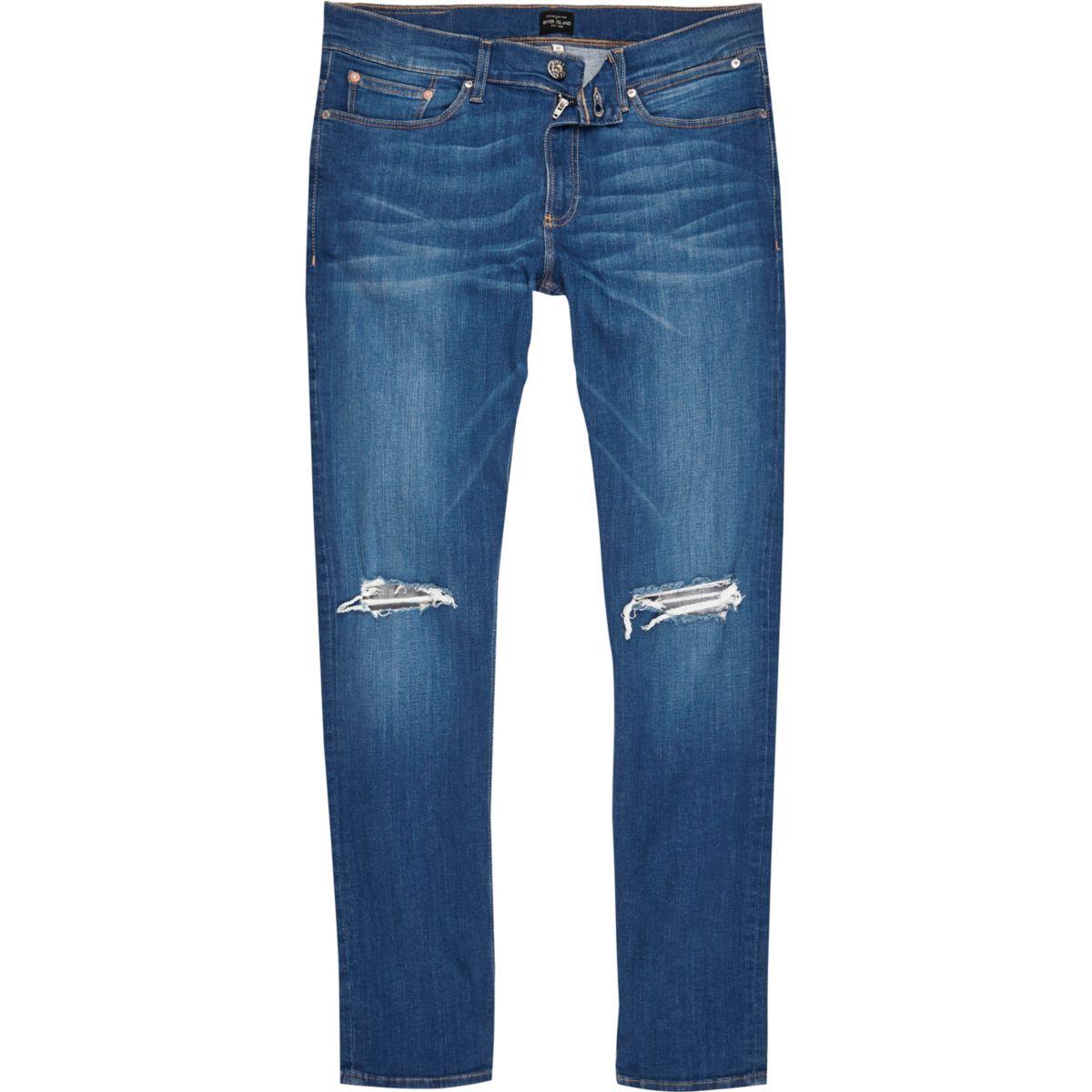 Sid - Ripped skinny jeans met blauwe wassing
