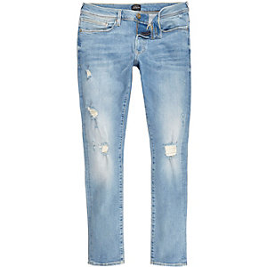 Danny - Lichtblauwe ripped superskinny jeans