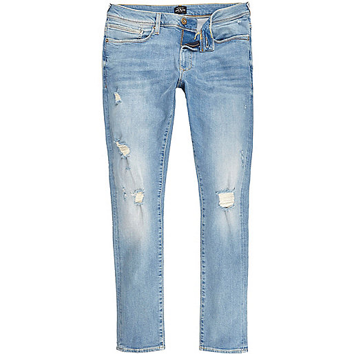 Light blue ripped Danny super skinny jeans
