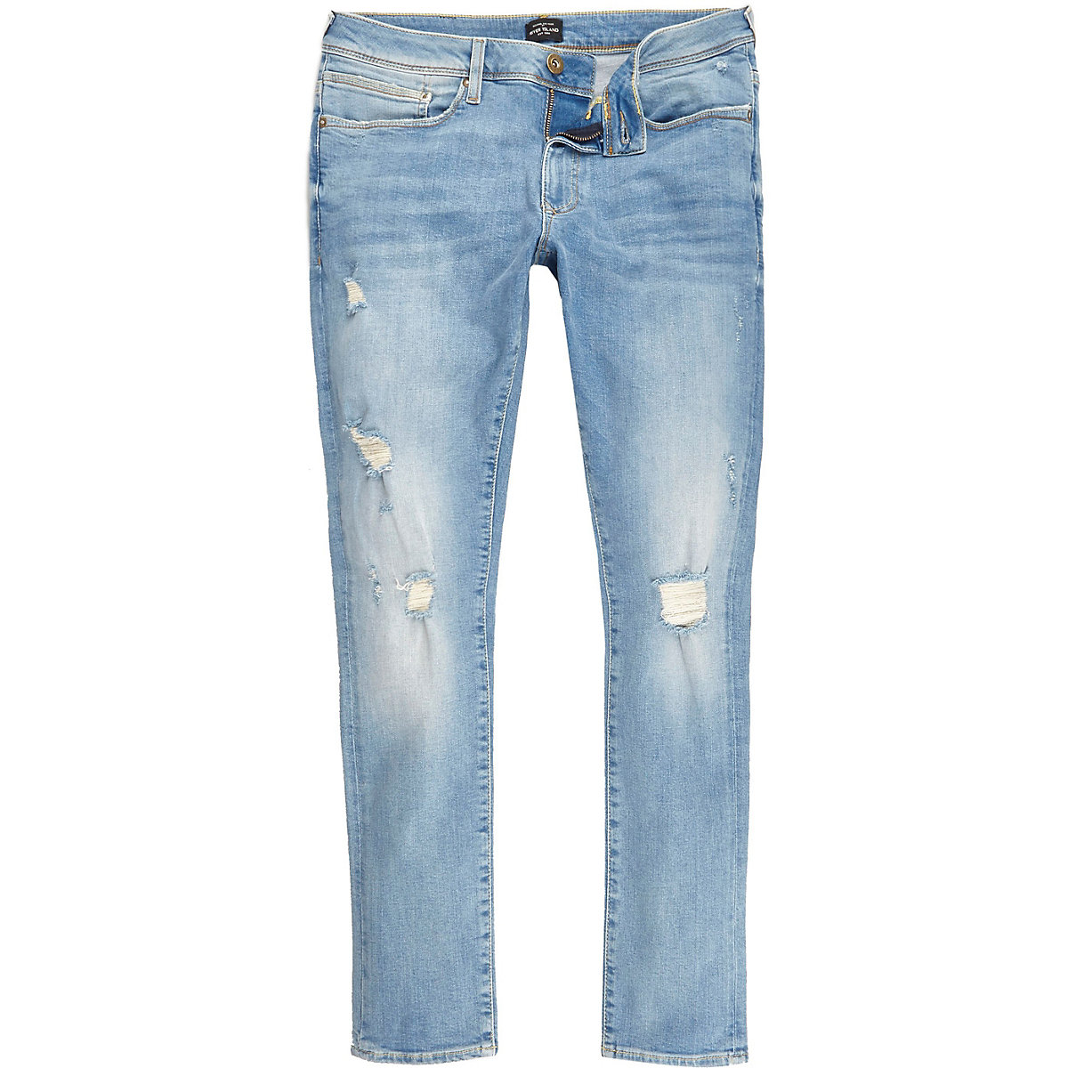 Light blue ripped Danny super skinny jeans
