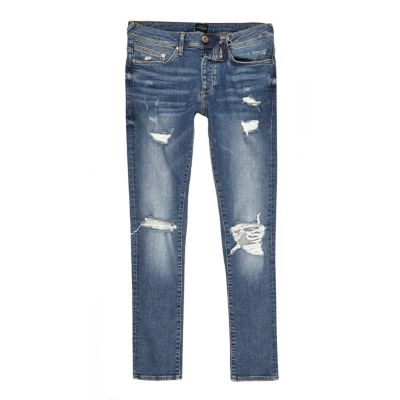 Danny Middenblauwe ripped superskinny jeans