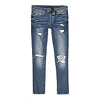 Danny – Mittelblaue Superskinny Jeans im Used-Look