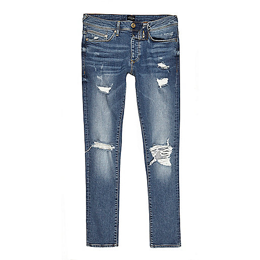 Mid blue ripped Danny super skinny jeans