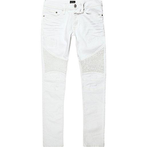 White Danny super skinny biker jeans