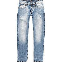 Dylan – Mittelblaue Slim Fit Jeans im Used Look
