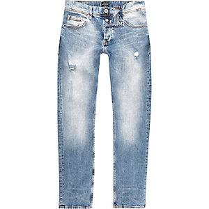 Dylan - Middenblauwe wash distressed slim-fit jeans