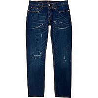 Dark blue distressed Dylan slim fit jeans