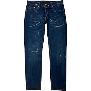 Dylan - Donkerblauwe distressed slim-fit jeans