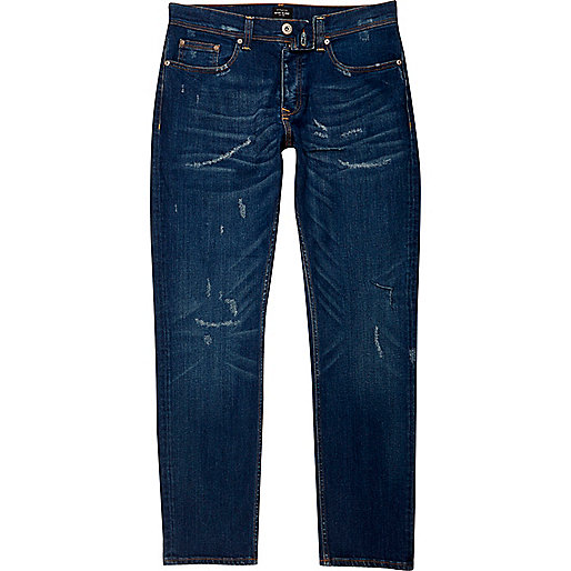 Dark blue distressed Dylan slim fit jeans