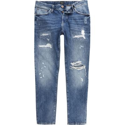 Jimmy Donkerblauwe distressed smaltoelopende jeans