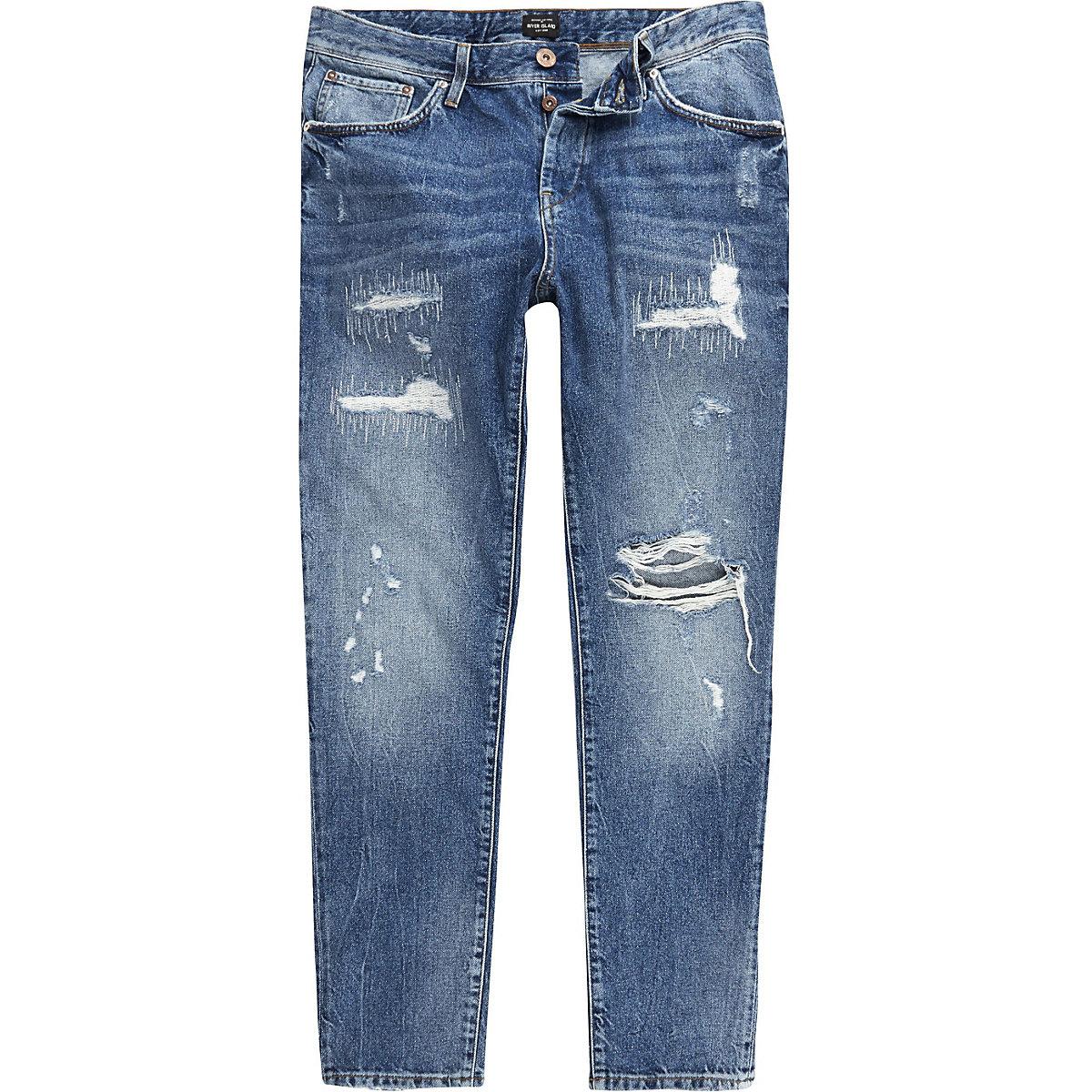Jimmy – Jean slim bleu foncé usé - Jeans coupe fuselée - Jeans - Homme 88632caa44ee