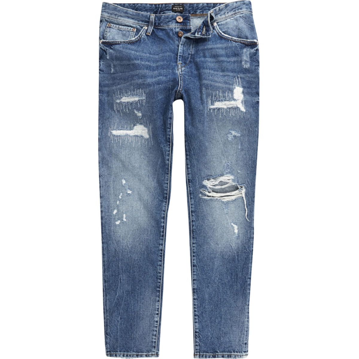 Dark blue distressed slim tapered Jimmy jeans