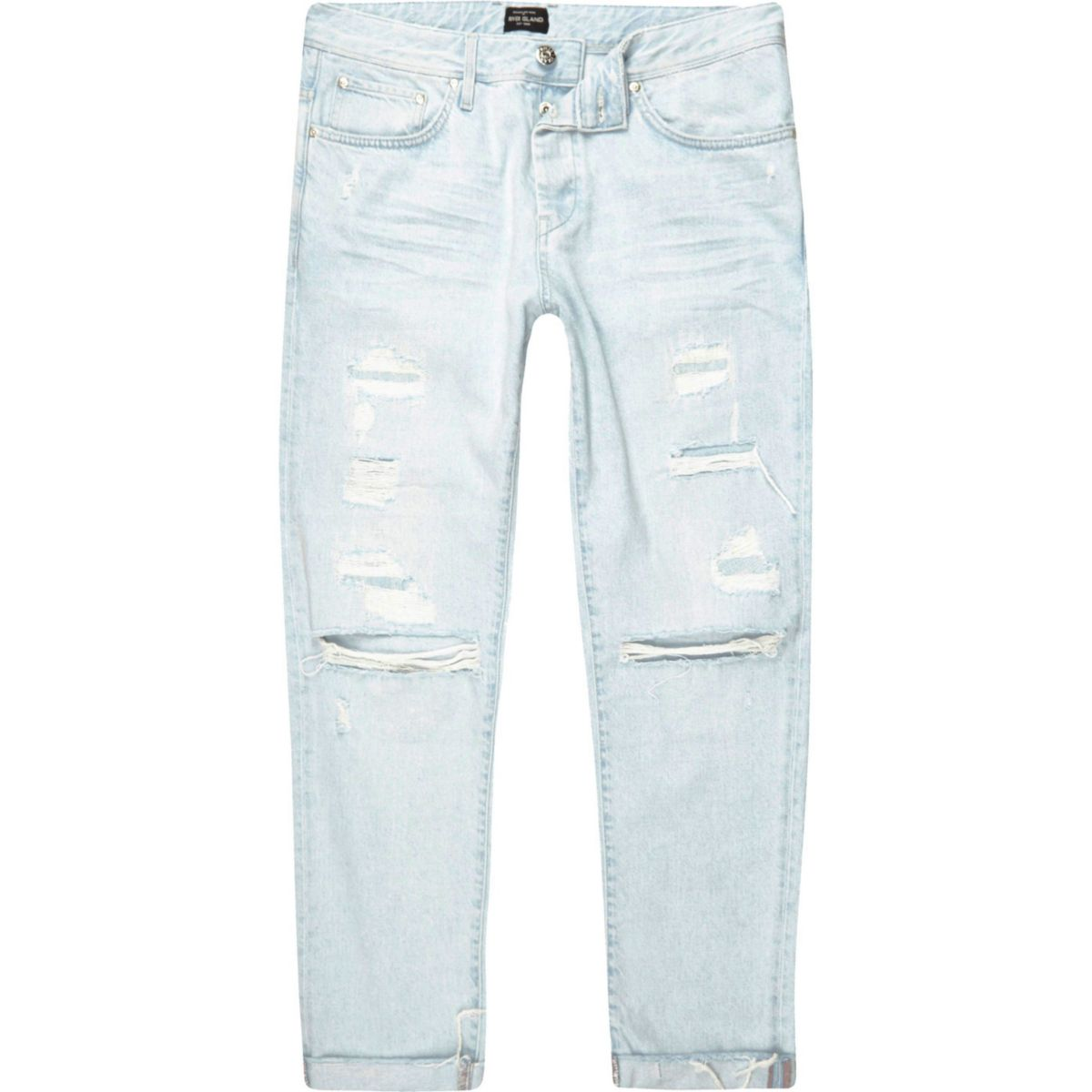 Light blue wash Cody ripped loose fit jeans