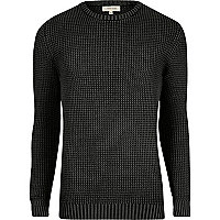 Grey acid wash slim fit knit jumper