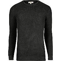 Grey acid wash slim fit knit sweater