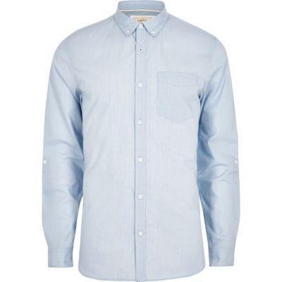 Blauw gestreept slim-fit overhemd met lange mouwen