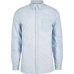 Langärmliges, blaues Slim Fit Hemd