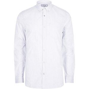 White stripe long sleeve slim fit shirt