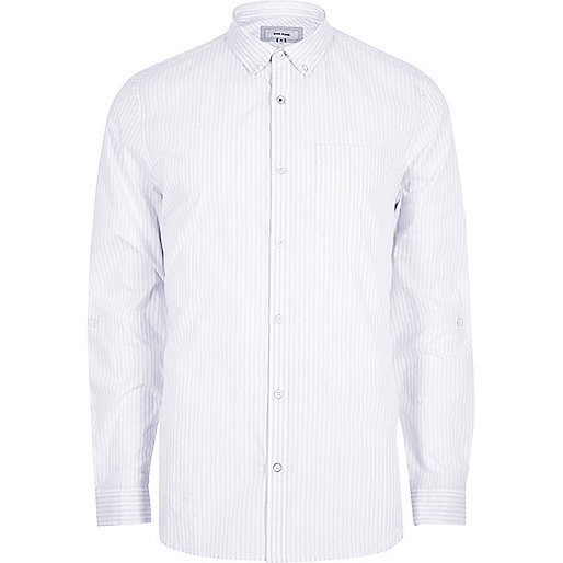 White stripe long sleeve slim fit shirt