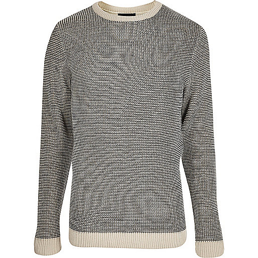 Grey and cream textured knit slim fit sweater