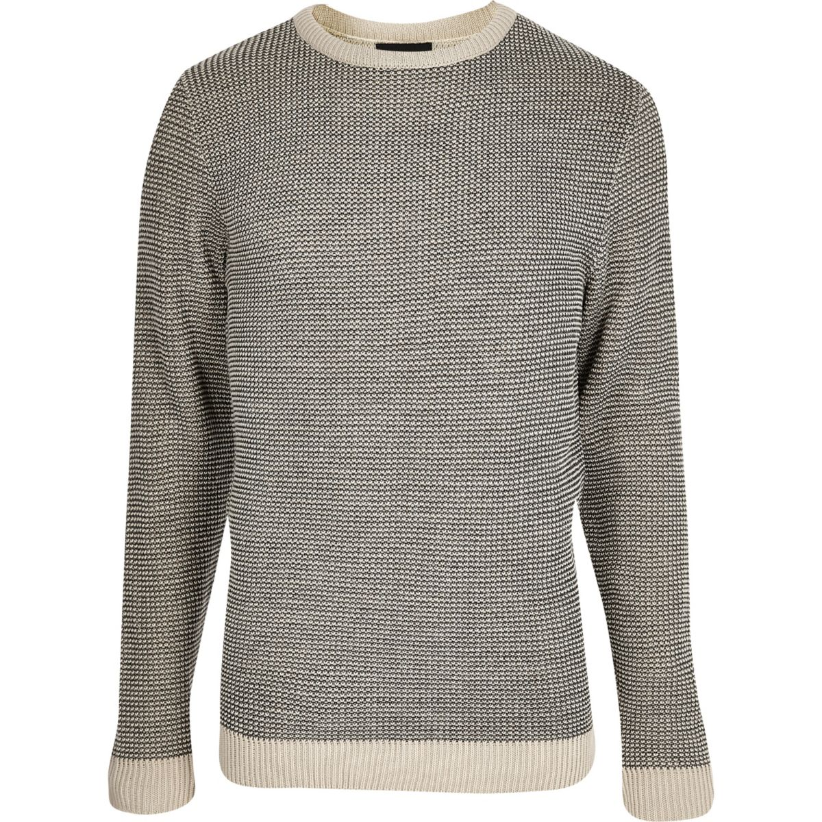 Grey and cream textured knit slim fit jumper