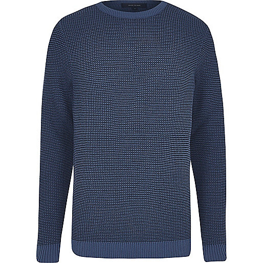 Navy textured knit slim fit sweater