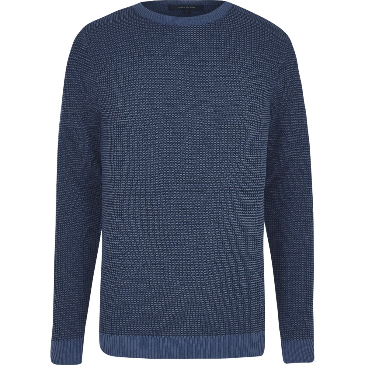 Navy textured knit slim fit jumper