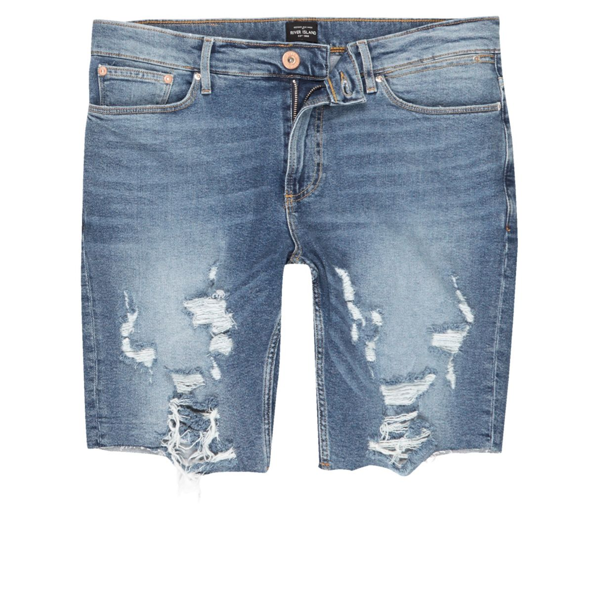 Mid blue distressed raw hem denim shorts