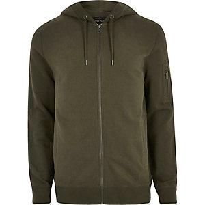Donkergroene casual hoodie met rits voor