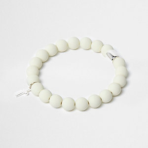 White beaded cross bracelet