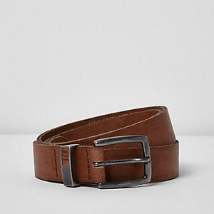 Light brown leather belt