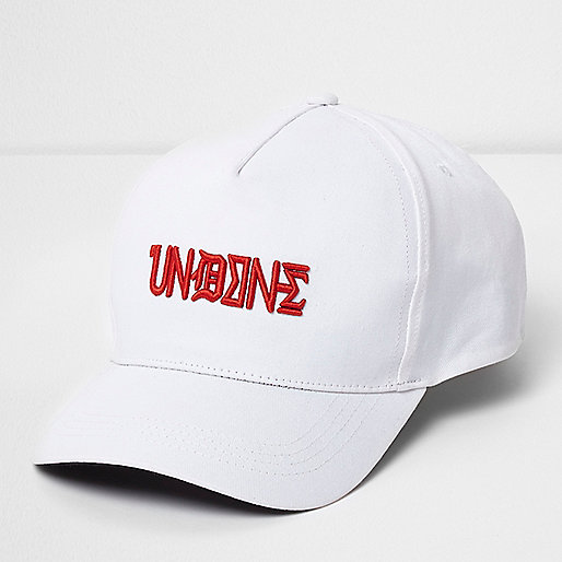 White text embroidered cap