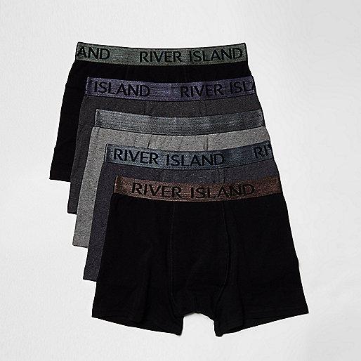 Black metallic waistband boxers multipack