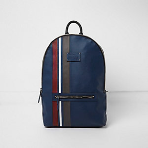 Blue stripe panel backpack