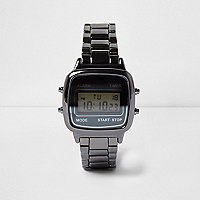 Grey gunmetal digital watch