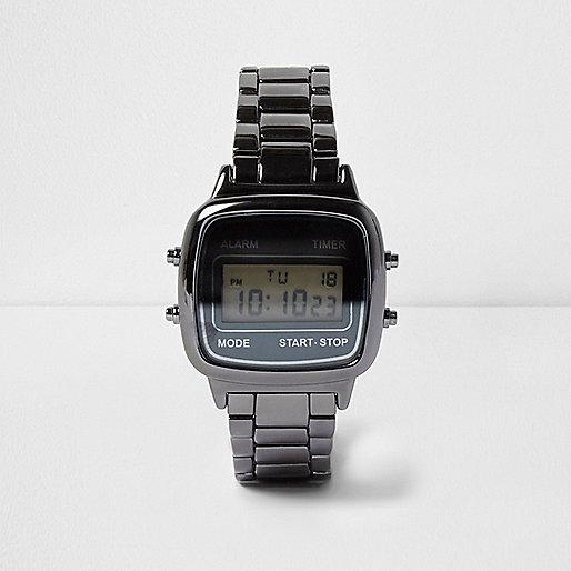 Grey gunmetal digital watch
