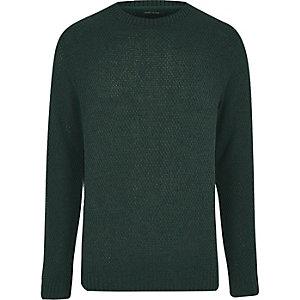 Dark green textured knit sweater