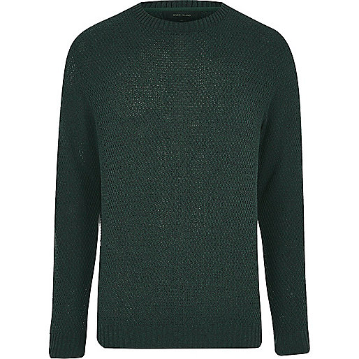 Dark green textured knit sweater