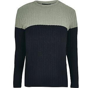 Light green ribbed knit colour block jumper