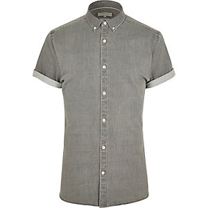 Grey short sleeve muscle fit denim shirt